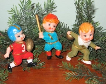 Vintage Flocked Sports Christmas Ornaments
