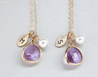 SETS of  TWO - Beautiful Stone in bezel with  initial Leaf and Pearl - Gold Filled , Customized Letter,With Options to choose Color of Stone