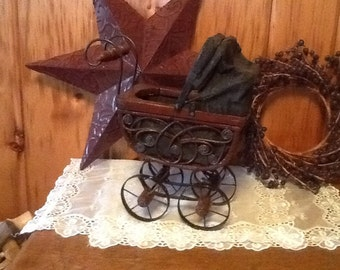 Wicker Doll Carriage Victorian Wood Buggy Gorgeous