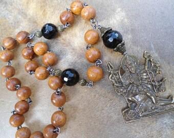 Kali Ma Japa Mala Natural Wood Mala Hand Mala 27 Bead Mala  Black Onyx Hindu Goddess Kali  Mala Beads  Kali Pocket Mala Goddess Prayer Beads