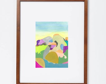 Fine Art Print of Painting. 16 x 20. Abstract. Desert. Lanscape. Colorful shapes. Unframed Archival. Home Decor. Wall Art.