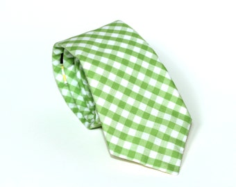 Men's Tie - Lime Green Gingham - Grass Green and White Plaid - In Stock