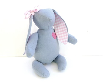 Grey bunny, Easter bunny doll, bunny rabbit toy, pink and grey bunny, fabric stuffed bunny toy, gift under 30, children bunny toy