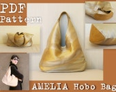PDF Sewing Pattern to make Amelia Hobo Bag INSTANT DOWNLOAD large slouch Shoulder fabric leather handbag minimalist bag women's urban bag