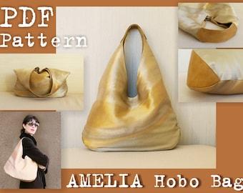 PDF Sewing Pattern to make Amelia Hobo Bag INSTANT DOWNLOAD large slouch Shoulder fabric leather handbag minimalist bag women's urban bag