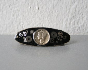 Vintage Barrette Handmade with Coins and Clock Parts - Black and Gold