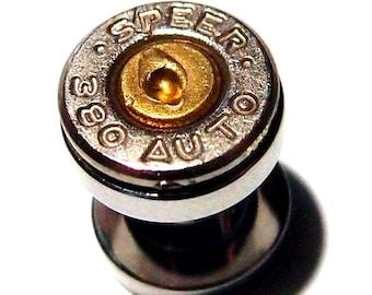Bullet ear plugs 380 Cal Bullet ear gauges Earring Bullet Shell u pick your gauge ... Silver & Gold bullet gauges, bullet guages