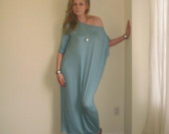 Boho Dress Off Shoulder Maxi Dress Asymmetric Long Loose Kaftan 3/4 Length Sleeve Maternity XS - XL / (More Colours) Rayon/Spandex Jersey
