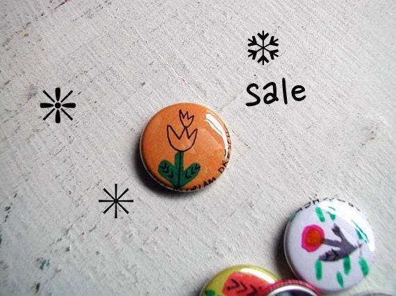 HOLIDAY SALE Little Tulip Pinback Button Yellow-Orange Pin (drawn by hand, not a print) from the 1 Inch Pinback Button project
