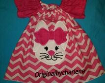 Boutique OOAK Custom Made Easter Bunny Chevron Peasant Dress