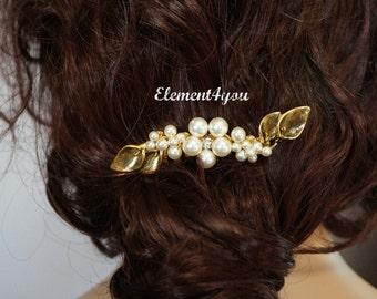 Bridal hair comb, Gold silver bridal hair piece, Bridal head piece, Calla lily flower, Wedding hair piece, Swarovski pearl Ivory Cream White