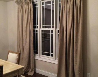 Double width linen gathered panel