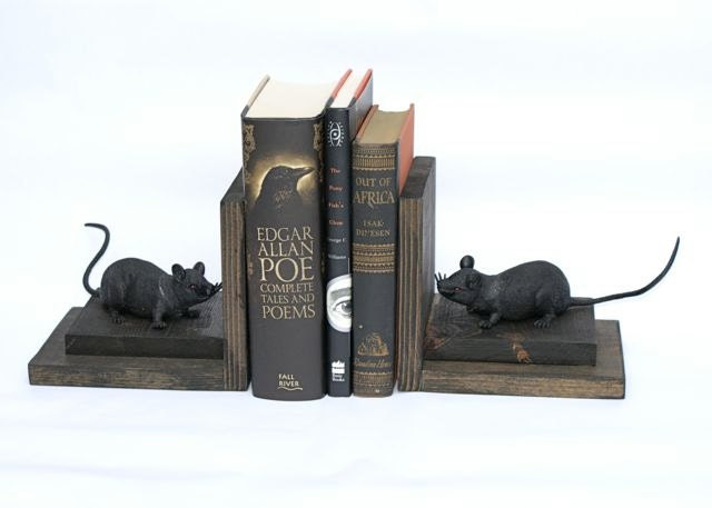 Rat bookends black rats wood wooden book ends bookshelf addams - Gothic bookends ...