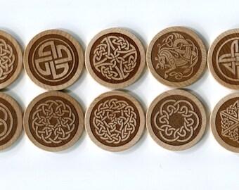 CELTIC KNOT Magnets - Set of 10 Celtic knot symbol artwork.  Great St. Patricks Day Gift!