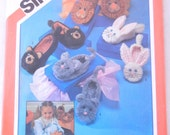 Gag Gift Animal Slippers Pattern for Adults, UNCUT Simplicity 6231, Rabbit Bear Lion Cat 1980s Silly Feet