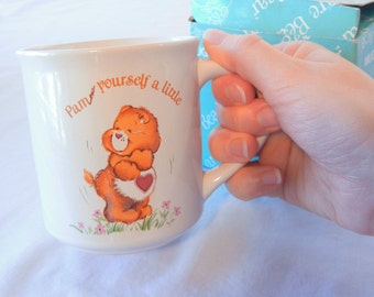 Care Bears Tenderheart Mug, Flawed, Pamper Yourself a Little, Brown Bear Red Heart, 1983 American Greetings Collectors Series, Oddity