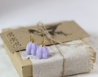 Lilac flower earrings, flower jewelry for wife, purple flower, glass lampwork flower earrings, flower girls, bridesmaids gifts