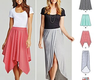 Stretch Knits Pull-on Skirts Pattern, Shaped Hemline Skirts Pattern, Wrap Skirt Pattern, Simplicity Sewing Pattern 1201