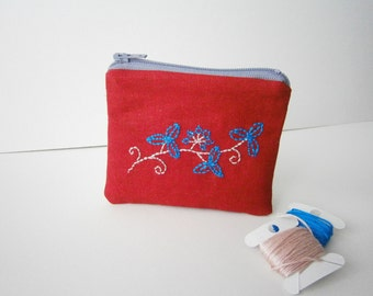 Embroided zippered coin purse