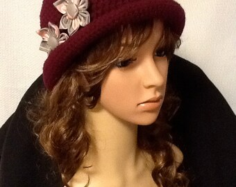 Cranberry Crocheted Cloche