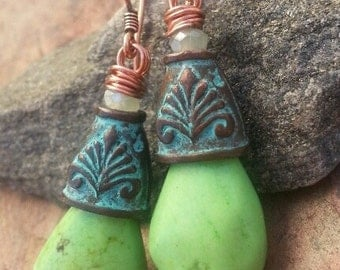 Shores of Green earrings, Copper, Mykonos Bead Caps, Crystals, and Apple Turquoise, ThePurpleLilyDesigns