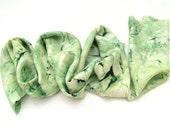 Marbled Green scarf, Marbled silk scarf, Marbled scarf, Hand painted scarf, Hand dyed silk scarf, Long silk scarf