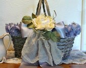 French Farmhouse Basket - Wicker Tote - Altered Art Basket - Wedding Basket Tote - Nordic Home Decor - Shabby Chic