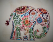 "Large Elephant Iron On Fabric Applique 10"" Jungle Rain Forest"