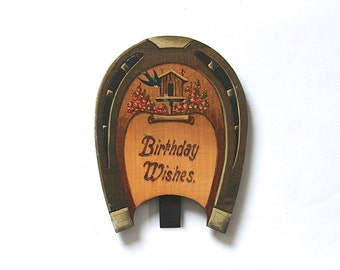 Vintage Wood Horse Shoe Birthday Wishes Wood Burning Hand Painted Germany