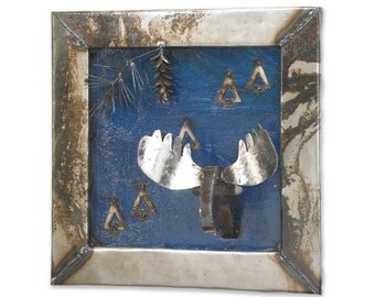 Art Metal Wall Sculpture Moose Woods Map
