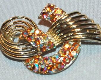 Vintage / Brooch / Aurora Borealis / Rhinestones / old jewellery / jewelry