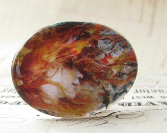 Flaming hair, autumn leaves, Art Nouveau woman, 40x30mm, Gust of Wind, oval glass cabochon, horizontal, fall leaves, orange