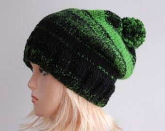 Melange slouchy knit hat, green and black beanie, chunky beanie, oversize beanie, winter fashion, women teens accessories, beanie large