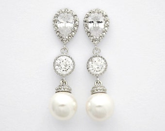 Pearl and Crystal Earrings Bridal Pearl Earrings Wedding Pearl Jewelry Cubic Zirconia Drop Earrings Silver Wedding Earrings, Rene