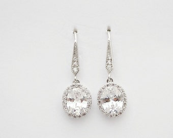 Crystal Drop Earrings Wedding Jewelry Bridal Earrings Dangle Bridesmaid Earrings Small Cubic Zirconia Bridal Jewelry Wedding Earrings, Emily