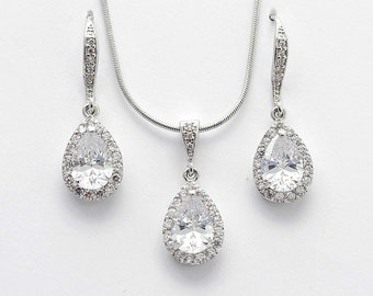 Bridal Earrings Necklace Set Wedding Jewelry Set Cubic Zirconia Crystal Silver Bridesmaid Jewelry Set