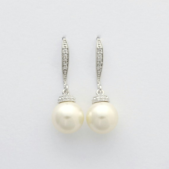 Pearl Bridal Earrings Wedding Bridesmaid Earrings Swarovski Pearl Dangle Earrings Bridesmaid Wedding Jewelry, Aubrey