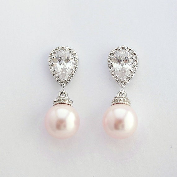 Blush Pink Wedding Pearl Earrings Crystal Pearl Bridal Earrings Bridesmaid Earrings Pink Swarovski Pearl Jewelry Blush Wedding, Rose