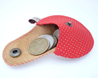 The Mini Gypsy Change Purse / Gold Leather and Gold Polka Dots Red Cotton