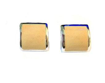 Vintage 1970's Yellow Post Earrings, Vintage Enamel Post Earrings, Mid Century, Square Shape, VisionsOfOlde