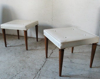 TH Robsjohn Gibbings Benches Pair Ottomans , midcentury modern ottomans