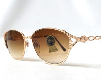 vintage 1980's sunglasses thin gold ornate metal frames brown gradient lenses women fashion accessories accessory sun glasses retro princess