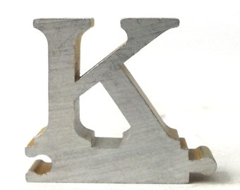vintage 1950's letter K puzzle piece brushed aluminum metal word home decor sign message text type font silver retro home decor small old