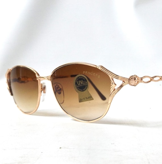 Thin Gold Frame Sunglasses : vintage 1980s sunglasses thin gold ornate by ...