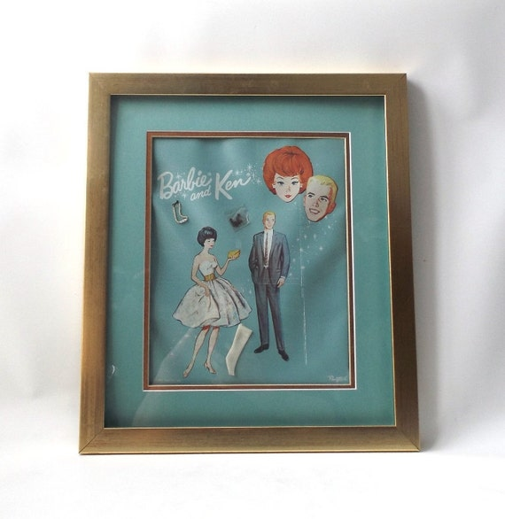 Vintage 1960 S Barbie And Ken Framed Picture By