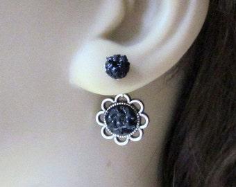 Flower Double Sided Earrings Front Back Earrings Ear Jacket Earrings Silver Black Studs Stained Glass Ear Jewelry Reverse Earcuff Earrings