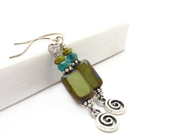 Olive Green Earrings - Picasso Rectangle Glass Beads - Green & Blue - Bohemian Dangle Earrings - Greenery