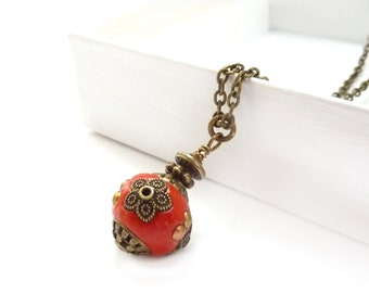 Red Boho Pendant Necklace - Indonesian Clay Bead - Orange Red - Bronze Chain Pendant - Colorful Handmade Necklace