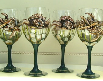 Sea Turtle Wine Glass (Custom Order Only) Hand Painted Tropical Fish Sea Creatures