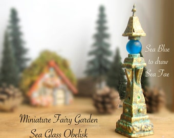 Miniature Fairy Garden Obelisks with Sea Glass - Made to Order Handcrafted Fae Tool for Drawing Wee Folk Between Realms - Terrarium Decor